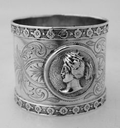 American Coin Silver Medallion Napkin Ring 1861