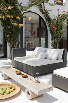 With the most suitable style and decor, you can make a lovely patio area for your home. You can receive the help, ideas, and the patio decor you will need to make the ideal area in your house. Decide where you would like your patio. Outdoor Areas, Outdoor Seating, Outdoor Rooms, Outdoor Living, Outdoor Furniture, Outdoor Decor, Furniture Ideas, Lounge Seating, Lounge Couch