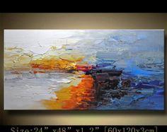 Grand ORIGINAL peinture moderne texturé peinture abstraite, couteau à Palette, maison murale art déco, art acrylique peinture sur toile par Chen 1201