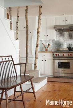 Ignore the prescriptive kitchen...  Silver birch branch stair barrier