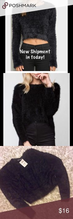 Last 2Brandy Melville Faux Fur Crop This will probably be the last shipment.  Price is $14, no offers. Items are new with tag attached.  One Size Fits Most.  Color is Black.  This top. Measures 17 inches armpit to armpit.  Measures 13.5 inches from neck to the bottom of the highest front portion, it is slight Hi/Lo design.  The top is very soft and very stretchy. Brandy Melville Sweaters