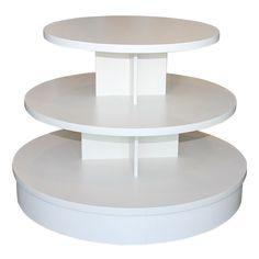3-Tier White Melamine Round Table
