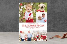 """""""Counting Blessings"""" - Modern, Photo Collage Christmas Photo Cards in Cherry by Jill Means."""