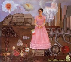 """Autorretrato en la frontera entre México y Estados Unidos  (1932) En este cuadro, Frida muestra sus ambivalentes sentimientos hacia """"Gringolandia"""" (los Estados Unidos). Vestida con un delicado vestido rosa y guantes blancos que se apartan mucho de su regular vestuario, Frida está de pie como una estatua en un pedestal entre los dos mundos diferentes."""