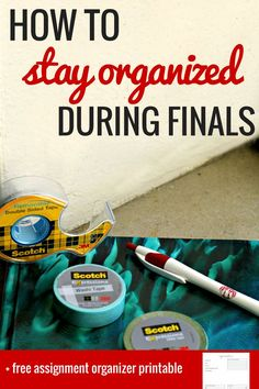 Staying organized during finals is one of the most important yet least thought of things to remember during the last couple weeks of the semester! Here's how to stay organized and on top of everything you have to do with Scotch® products!  finals, college finals, finals tips, studying tips  #CraftAmazing #ad