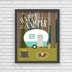 Home Decor Camping Wall Art  Happy Camper Art door LucyDarlingPrints, $19.99