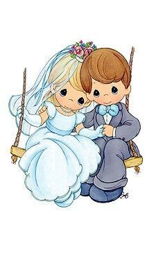 precious moments swinging briode and groom Precious Moments Wedding, Precious Moments Quotes, Precious Moments Figurines, Wedding Images, Wedding Cards, Precious Moments Coloring Pages, Crochet Humor, Jolie Photo, Illustrations