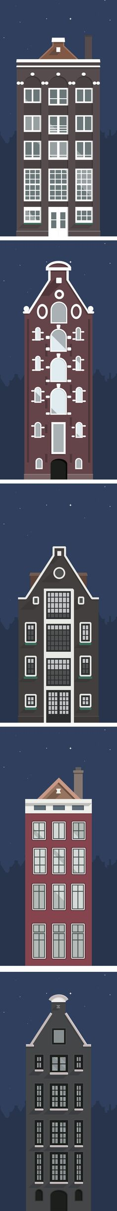 Amsterdam's Buildings Illustration by Sergey Shmidt, via Behance