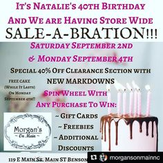 @morgansonmainnc (@get_repost)  Yes....I'm turning the Big 4 0 on September 4th!!! So to Celebrate we are having a SALE-A-BRATION!! Storewide Sales Discounts & Freebies!!! #shopbenson #shoplocal #thebig40 #sale-a-bration #thriftique #vintagedecor #vintagehomedecor #handmadegifts #40%off #birthdaysale
