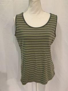 7da8a9225850a Lands End Womens Olive Green Striped Sleeveless Cotton Tank Top Shirt Sz LG   LandsEnd