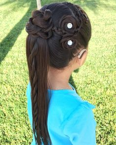 Half braided tie back. I used a bobby pin in the middle of the 3 braids to get the crossed appearance. Also, this little cotton schoolgirl… Little Girl Braids, Girls Braids, Side Braids, Lace Braid, Rope Twist, Braid Styles, Rosettes, Pretty Hairstyles, Hair Inspo