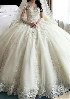 Amazing Tulle & Organza Jewel Neckline Ball Gown Wedding Dress With Lace Appliques & 3D Flowers & Beadings #weddinggowns