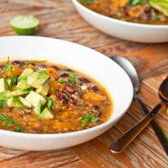 Quinoa Black Bean & Pumpkin Soup with onion, garlic, broth & spices
