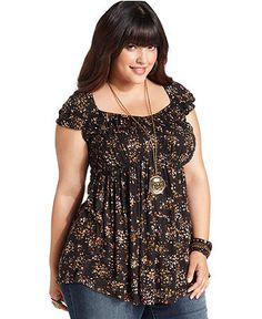 American Rag Plus Size Top, Cap-Sleeve Floral-Print - Plus Size Tops - Plus Sizes - Macy's