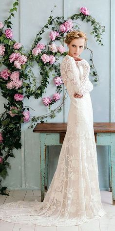 Sparkly Bohemian Rue De Seine Wedding Dresses ❤️ rue de seine wedding dresses boho floral embellishment with long sleeves ❤️ See more: http://www.weddingforward.com/rue-de-seine-wedding-dresses/ #weddingforward #bride #weddingdress