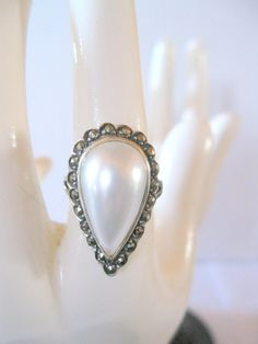 Vintage Mother Of Pearl .925 Sterling Silver, Ring, Size 6.5. $20.00, via Etsy.