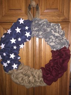 Military flag wreath made for a friend whose grandson just joined the Army!  October 2016.
