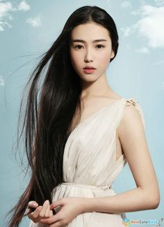 Girl - asian, dark hair, eyes, white, black, clouds