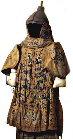 Almost a Heraldic style coat. Mongol Yuan Dynasty (13th century) brigandine armour, used during the Mongol invasions of Japan, preserved at the Mongol Invasion Museum, Japan