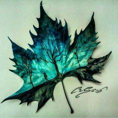 leaf art so pretty Kunst Inspo, Art Inspo, Illustration, Wow Art, Leaf Art, Art Plastique, Cool Drawings, Painting & Drawing, Amazing Art