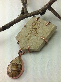 Dancing Fossil and Picture Jasper in Copper Enamel Jewelry, Metal Jewelry, Jewelry Art, Diy Jewelry Inspiration, Jewelry Ideas, Handmade Copper, Handcrafted Jewelry, Fossil Jewelry, Rustic Stone