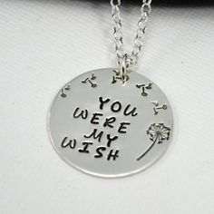 Stamped Dandelion Necklace Hand-stamped necklace with a dandelion wish theme. Silverware Jewelry, Jewlery, Dandelion Necklace, Hand Stamped Metal, Diamond Cross Necklaces, Hand Stamped Necklace, Pendant Design, Personalized Jewelry, Jewelry Crafts