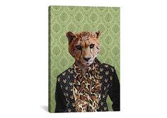 iCanvas Animal Personalities Collection Cheetah wearing Cheetah Print Shirt and Leopard Scarf - iCanvas.com