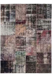 color reform aubergine patchwork rug