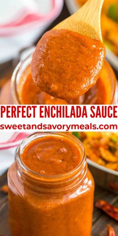 Enchilada Sauce made at home can be just as bold and flavorful as at your favorite Mexican restaurant. #mexican #enchiladasauce #enchilada #sweetandsavorymeals Syrup Recipes, Dip Recipes, Sauce Recipes, Lunch Recipes, Easy Recipes, Dinner Recipes, Easy Meals, Easy Enchilada Sauce, Sauces