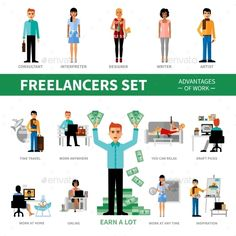 Freelancers Set with Advantages of Work - Concepts Business