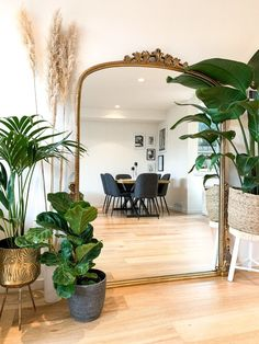 Mirror Decor Living Room, Room Decor Bedroom, Full Length Mirror In Living Room, Living Room Decor With Plants, Full Length Mirror Entryway, Large Bedroom Mirror, Large Gold Mirror, Gold Mirrors, Bedroom Mirrors