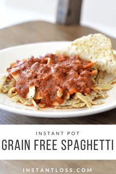 Instant Pot Grain Free Spaghetti - Instant Loss - Conveniently Cooking Your Way . - Instant Pot Grain Free Spaghetti – Instant Loss – Conveniently Cooking Your Way To Weight Loss - Instant Pot Pressure Cooker, Pressure Cooker Recipes, Pressure Cooking, Slow Cooker, Natural Fat Burners, Spaghetti Recipes, Spaghetti Sauce, Grain Free, Healthy Eating
