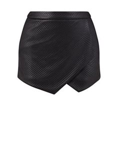 Black (Black) Black Quilted Wrap Skort  | 324488201 | New Look