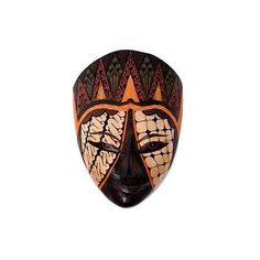 NOVICA Hand Crafted Wood Batik Mask Indonesian Style Art (€69) ❤ liked on Polyvore featuring home, home decor, wall art, brown, masks, handmade home decor, brown wall art, novica, handmade wall art and indonesian wood wall art