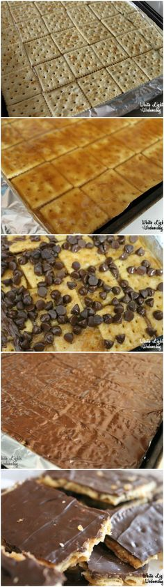 Saltine Cracker Toffee - White Lights on Wednesday Candy Recipes, Sweet Recipes, Holiday Recipes, Dessert Recipes, Holiday Treats, Christmas Treats, Baking Recipes, Snack Recipes, Dessert Simple
