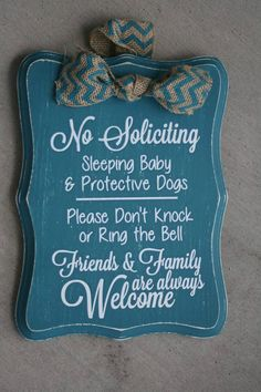 Hand Painted Distressed No Soliciting Sign Baby Sleeping by MeganRileyDesigns on Etsy