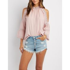 Charlotte Russe Crochet-Inset Cold Shoulder Top ($17) ❤ liked on Polyvore featuring tops, mauve, cutout tops, woven top, boho tops, cold shoulder tops and boho chic tops