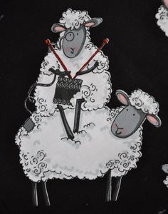 Project Bag Medium Knitting Sheep by BlueTulips on Etsy Knitting Humor, Crochet Humor, Knitting Projects, Knitting Yarn, Knitting Patterns, Knit Crochet, Wool Yarn, Sheep Art, Knit Art