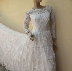 Spring/Summer Clearance Dress Sale / Vintage Ivory Lace Long Train Wedding Dress // A Classic // Elegant by Prettyagedthings on Etsy