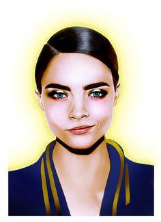 Fashion Illustration of Cara Delevingne by Rebecca Elliston