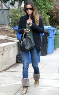 Shearling boots and Rachel Bilson=adorable X 2
