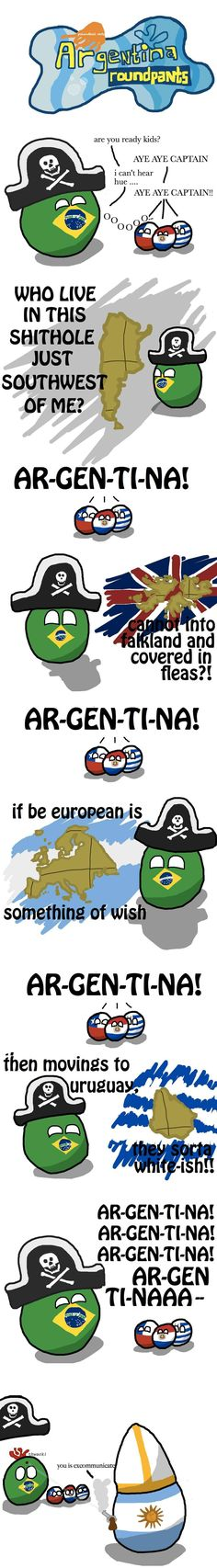 """Argentina Roundpants"" ( Brazil, Chile, Paraguay, Uruguay, Argentina ) by krackpotkin https://www.reddit.com/r/polandball/comments/1feg6n/argentina_roundpants/ #polandball #countryball"