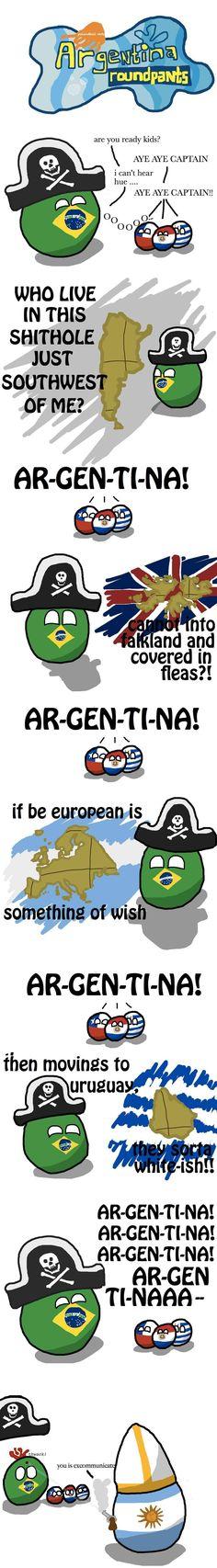 """Argentina Roundpants"" ( Brazil, Chile, Paraguay, Uruguay, Argentina ) by krackpotkin  https://www.reddit.com/r/polandball/comments/1feg6n/argentina_roundpants/ #polandball #countryball"