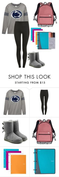 """first day of my sophomore year tomorrow🍒"" by leisharomano ❤ liked on Polyvore featuring Victoria's Secret, Proskins, UGG and Mead"