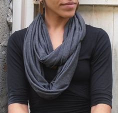Jersey Loop Scarf Dark Gray Scarf Jersey by FashionAndScarves