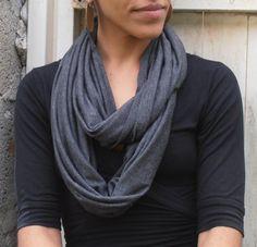 Jersey Loop Scarf Dark Gray Scarf Jersey by FashionAndScarves