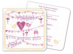 www.wearetickledpink.co.uk  Summer Fete folded square invite  Rhubarb and custard palette :-)