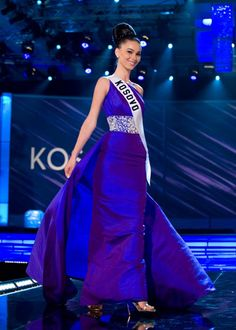 Gona, Miss Kosovo 2009, with the perfect Audrey Hepburn-inspired Blue Sherri Hill gown. Perfect! - Miss Universe 2009.