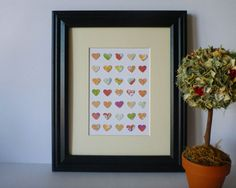 Paper Heart Wall Art Colourful Palette 8 x 10 by Heart Wall Art, Palette, Hearts, Paper, Unique Jewelry, Frame, Handmade Gifts, Etsy, Vintage