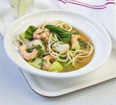A ramen-style noodle soup with sustainable pollack, prawns and healthy vegetables -a low-fat, low calorie bowl